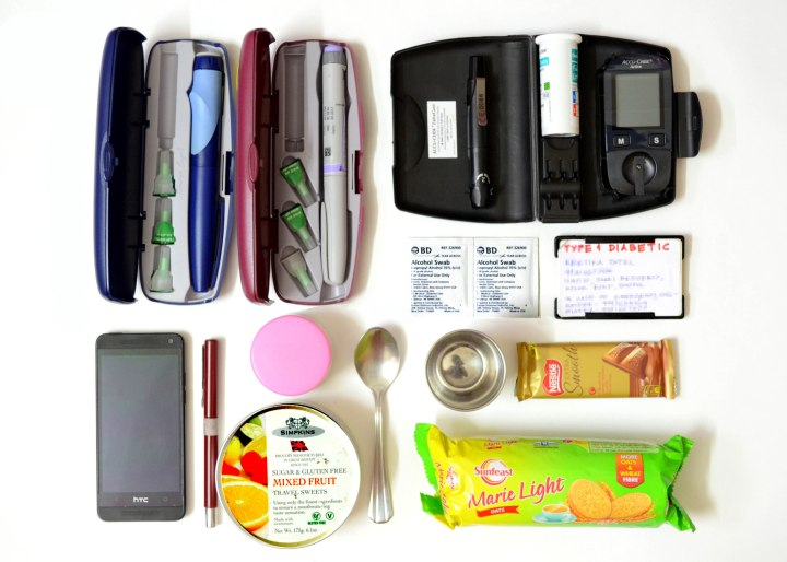 What is in a type1 diabetic's bag?